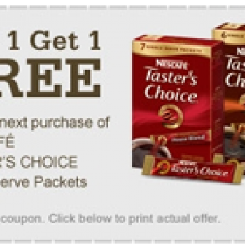 Buy 1 Get 1 Free Nescafe Tasters Choice + $.65 Off Coupon