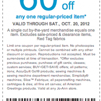 60% Off One Item At Joann Fabric Stores: Expires Oct 20th