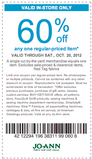 Maximize your holiday savings by shopping in-store with multiple JoAnn printable coupons. You can combine a single-item discount coupon with a percent-off the whole purchase coupon in one trip. If you shop online, a single JoAnn promo code can be used.