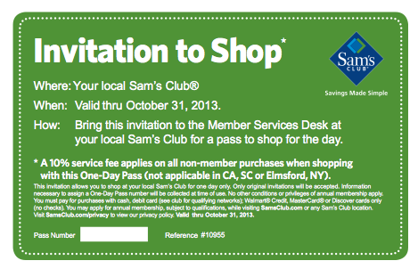 How to Save on a Sam's Club Membership If you don't think you're going to use a Sam's Club membership often enough to warrant paying the membership fees, you can purchase a One Day Pass for a much lower one time fee each time you plan to visit a Sam's Club%().