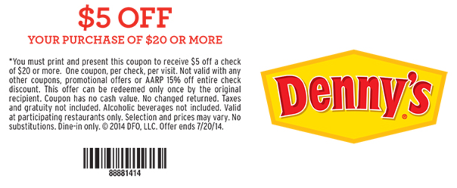 photograph relating to Denny's Printable Coupons known as Dennys Discount codes - No cost 4 Seniors