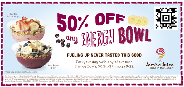 Jamba Juice Half Off Energy Bowls Coupon Free 4 Seniors