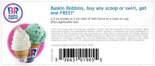 Baskin Robbins BOGO Free Scoop Or Swirl Free 4 Seniors