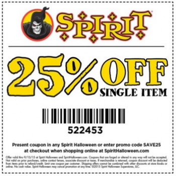 graphic relating to Spirit Halloween Coupon Printable named Spirit Halloween: 25% Off Solitary Product or service - Finishes Nowadays - Absolutely free 4