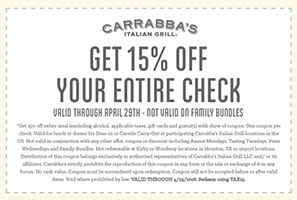 picture relating to Carrabba's Coupons Printable known as 15% OFF Carrabbas Italian Grill