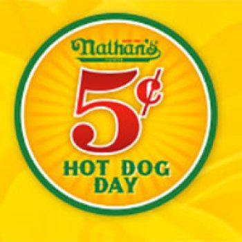 graphic about Nathans Printable Coupons named Nathans: 5 Cent Very hot Puppy Working day - Cost-free 4 Seniors