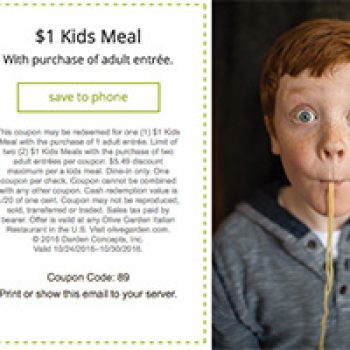 Olive Garden 1 Kid S Meal W Purchase Free 4 Seniors