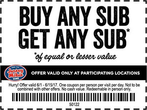 photo regarding Jersey Mike's Printable Coupon titled Jersey Mikes: BOGO Sub - Finishes 6/15 - No cost 4 Seniors
