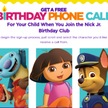 Free B-Day Phone Call from Nick Jr. Character